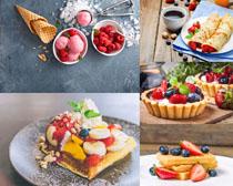 華夫餅水果早餐攝影高清圖片
