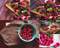 樹莓蛋糕攝影高清圖片