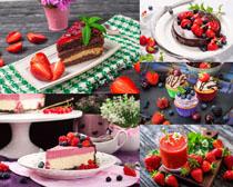 草莓蛋糕甜點攝影高清圖片