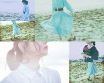 沙灘復古美女寫真攝影高清圖片