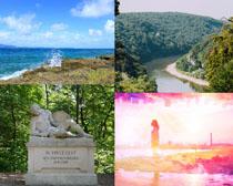 树木湖水塑像摄影高清图片