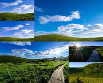 綠色草地白云風光拍攝高清圖片