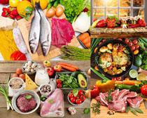 蔬菜鱼肉食物摄影高清图片