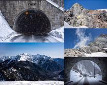 隧道雪山山峰景观摄影高清图片