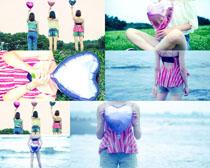 爱心气球女孩写真拍摄高清图片