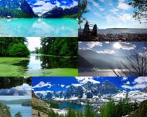 白云湖泊高山风景摄影高清图片