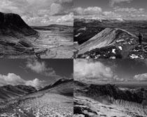 平原山峰黑白風景攝影高清圖片