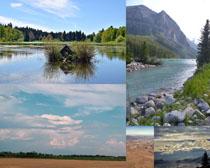 小溪天空戶外風景攝影高清圖片