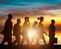 夕陽風光剪影商務人士攝影高清圖片