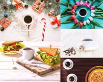 圣诞节咖啡礼物花朵摄影高清图片