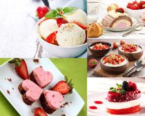 草莓甜品冰淇淋食物摄影高清图片