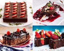 草莓巧克力甜品蛋糕拍摄高清图片