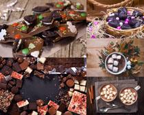 巧克力杏仁糖果饼干摄影高清图片