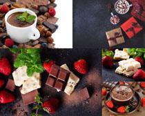 草莓巧克力咖啡摄影高清图片