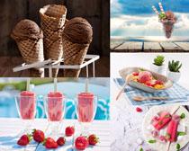 巧克力草莓冰棒摄影高清图片