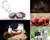 牛奶椰子水果拍摄高清图片
