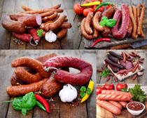 香肠西红柿辣椒摄影高清图片