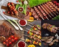 羊排牛肉烧烤西红柿果酱摄影高清图片