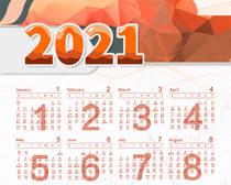 简洁2021牛年日历PSD素材