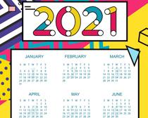 可爱2021年日历PSD素材