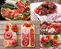 腊肉香肠配菜摄影高清图片