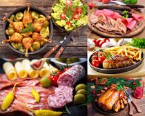 鸡腿鸡肉香肠食物摄影高清图片