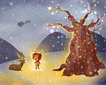 圣诞节卡通绘画PSD素材