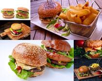汉堡包大薯条摄影高清图片
