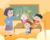 开学季卡通儿童宣传海报PSD素材