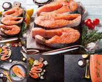 三文魚與檸檬攝影高清圖片