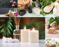 蠟燭毛巾SPA護理攝影高清圖片