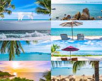 大海沙灘藍天風景拍攝高清圖片