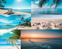 海灘藍天大海風景拍攝高清圖片