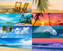 夕陽藍天大海風景拍攝高清圖片