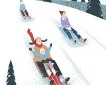 滑雪场地卡通人物PSD素材