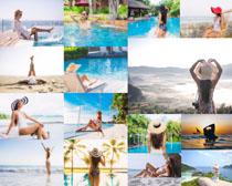 泳池休闲比基尼美女写真拍摄高清图片