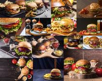 薯條西紅柿漢堡包食物攝影高清圖片