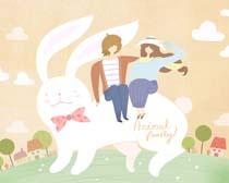 浪漫爱情人物与小兔插画PSD素材