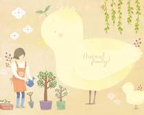 黄小鸭与女孩插画PSD素材
