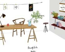 房間室內布置家具展示PSD素材
