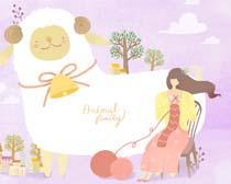 可爱羊与女孩插画PSD素材