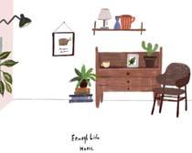 书桌家具绘画展示PSD素材