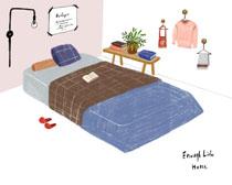 兒童床繪畫展示PSD素材