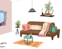 沙发布置设计绘画PSD素材