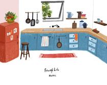 厨房设计绘画风格PSD素材