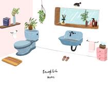 卫生间设计风格绘画PSD素材