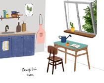 厨房风格布置绘画PSD素材