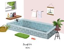 室内浴池展示绘画PSD素材