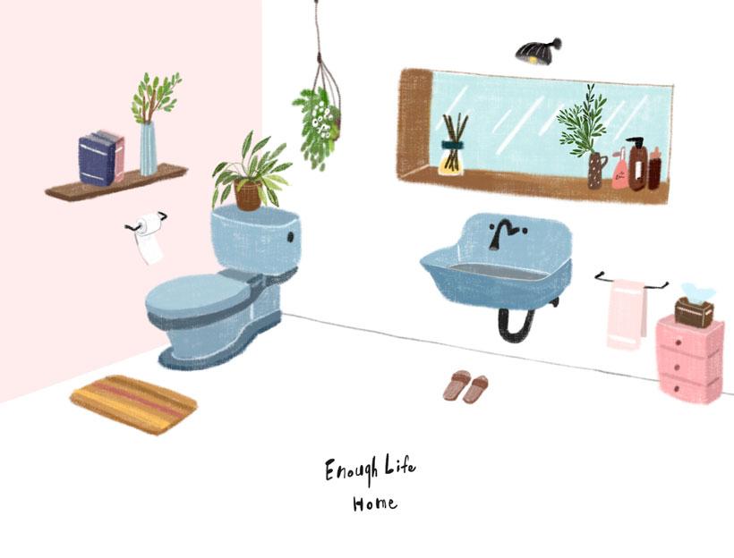 衛生間設計風格繪畫PSD素材