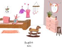 兒童房設計風格繪畫PSD素材